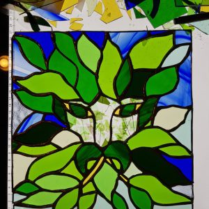 Green Man Stained Glass Panel