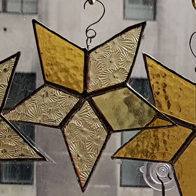 Five point star in mixed yellows