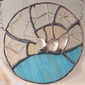 Quartz crystal stained glass mooncatcher