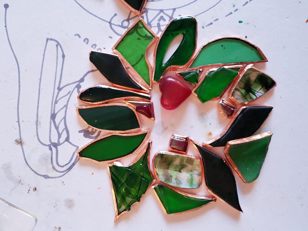 glass holly wreath in progress
